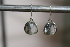 Earrings  Gray Rhodium Faceted Glass Drops by AvaHopeDesigns, $24.00