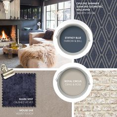 Monday Moodboard - Give the Hygge look some depth by introducing dark blue to an otherwise natural scheme. We love the mix of velvet, fur, brick and weathered wood. Yellow Family Rooms, Yellow Dining Room, Dining Room Office, Sitting Room Decor, Lounge Decor, Lounge Ideas, Lounge Colour Schemes, Blue Color Schemes, Hygge