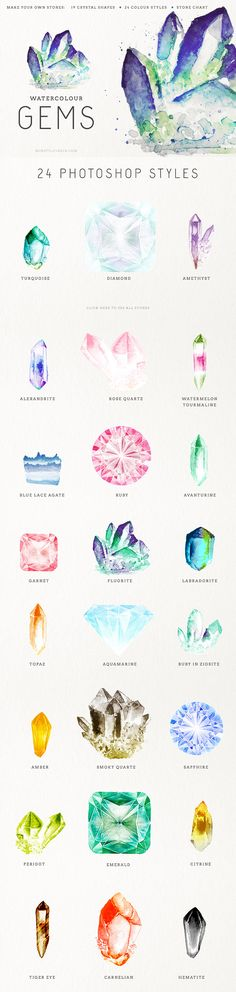 Make your own gems for your artwork, cards, invitations or whatever else your imagination dares to conjure. Choose a shape, load the Photoshop styles, pick one and you\'ll have made a beautiful gem. There is a small chart with all the stones you can make with just a few clicks, but you can easily create more by tweaking the layer styles.