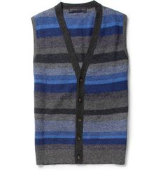 Sleeveless Striped Wool Cardigan  This is kind of ridiculously adorable