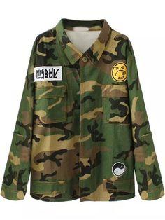 Green Lapel Camouflage Print Pockets Coat 29.36