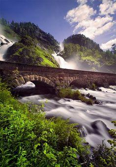 Ltefossen Waterfalls in Odda, Fjord Norway. Hardangerfjord region.