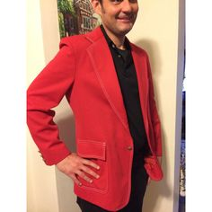 Vintage 1970s Mens Red Holiday Poly Sportcoat Blazer Size 40L Medium ($35) ❤ liked on Polyvore featuring men's fashion, men's clothing, men's sportcoats, men's apparel, mens red blazer, mens blazers, mens blazer jacket and mens short sleeve blazer