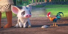 Pua and Heihei, Moana's pet pig and rooster chicken