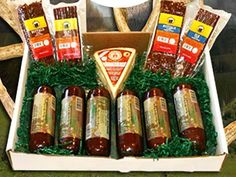 Elk, Venison, and Bufflalo are naturally low in fat, calories, and cholesterol A tasty variety of elk, venison and buffalo sausages, snack sticks, and jerky. Animals are farm raised without the use of growth hormones or antibiotics Buffalo, Elk and Venison Variety Snack Gift Box