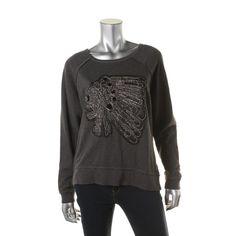 Denim & Supply Ralph Lauren Womens Heathered Embellished Sweatshirt