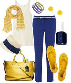 """Royal Blue & Sunshine Yellow"" by fleurdelove on Polyvore"