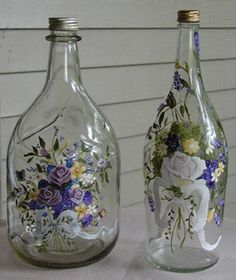 Examples Of Painted Wine Bottles | large bottle on right $ 40 00 bottles can be painted to