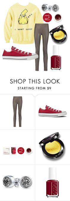 """""""Same Pikachu Same"""" by adventuretimekitty ❤ liked on Polyvore featuring Iris & Ink, Converse, Korres, Bling Jewelry, Essie, yellow, red, grey and pikachu"""