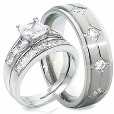 3 Pieces His Hers 925 Sterling Silver Rhodium Plated Anium Matching Engagement Wedding Bridal Ring Set