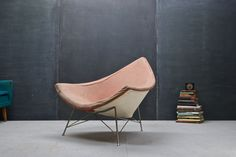 USA, c.1956. Vintage Original 1st Year of Production Herman Miller Coconut Chair, Designed by George Nelson & Associates. Ready for Re-upholstery and a new Mid-Century Modern Home.    W: 40½ x D: 38 x H: 31 in.