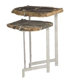 358-029 Ardelle Nesting Tables | Bernhardt W 18.5 D 17.5 H 24 Petrified Wood Tops $1320