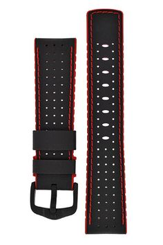 Hirsch ROBBY Sailcloth Effect Performance Watch Strap in BLACK / RED – £69.00  Function and design in perfect harmony in even the most demanding situations. Moisture is quickly wicked away by the caoutchouc core's special structure and the finely perforated, sailcloth-effect upper fabric surface, ensuring constant optimum wearing comfort.