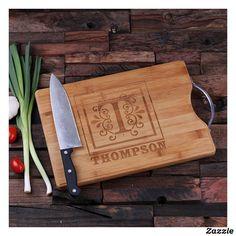 Personalized Bamboo Cutting Board w/Steel Handle