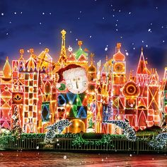 """One look at the lights and magic of """"it's a small world"""" Holiday and you'll agree the Disneyland Christmas, Disney World Christmas, Disney Holidays, Christmas Scenes, Christmas Lights, Disneyland Tickets, Disneyland Resort, Disney Love, Disney Magic"""