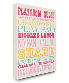Another great find on #zulily! Pink, Blue & Yellow 'Playroom Rules' Wrapped Canvas #zulilyfinds
