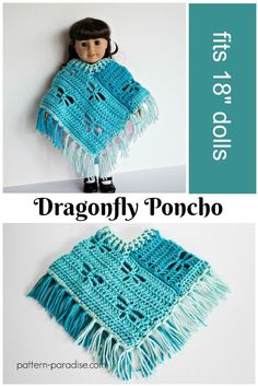 """Free Crochet Pattern: Dragonfly Poncho for 18"""" Dolls on Pattern-Paradise.com. Pattern also available in child and adult sizes! #crochet #patternparadisecrochet #freepattern #poncho #americangirl"""
