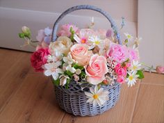 Flower in the basket, hand modeling, clay flowers, polymer clay bouquet, Mother's Day