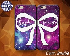 Best Friends Pair Matching Case BFF Bow Galaxy by TheCaseJunkie
