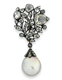 A 19th Century Natural Pearl and Diamond Brooch.