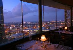 Wine and dine at Spindletop Restaurant, at the top of the Hyatt, to take in the Houston sunset. - Steve - #HouBList - MyHoustonBucketList.com