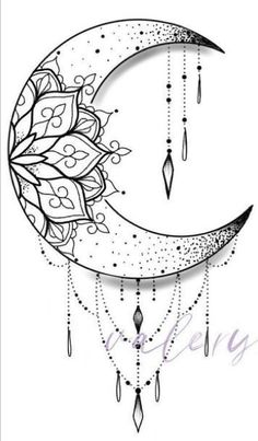 Moon Tattoo Designs, Mandala Tattoo Design, Henna Tattoo Designs, Tattoo Ideas, Lily Tattoo Design, Hamsa Design, Clock Tattoo Design, Geometric Tattoo Design, Geometric Tattoos