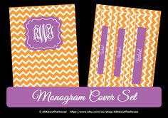 3 Monogram Printable Binder Cover and spine -Chevron-Personalised -Monogram Binder Cover-Monogram Stationery-Preppy-Back to School Available here: https://www.etsy.com/au/listing/161160154/3-monogram-printable-binder-cover-and?ref=listing-shop-header-2