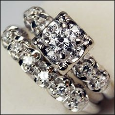 Vintage Diamond Wedding Rings Set Circa 1950s 1960s 033