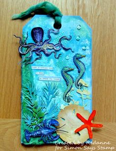 Redanne: Simon Says Stamp - Designer Spotlight Week 4 Atc Cards, Card Tags, Gift Tags, Tag Art, Tim Holtz Stamps, Nautical Cards, Handmade Tags, Paper Tags, Artist Trading Cards