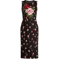 Dolce & Gabbana Floral-print stretch-silk charmeuse midi dress ($3,775) ❤ liked on Polyvore featuring dresses, black multi, embroidery dresses, stretch dresses, floral midi dress, dolce gabbana dress and high neck midi dress
