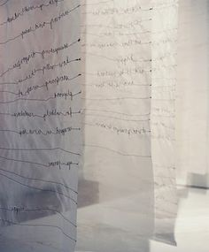 *Write poems, quotes to hang on walls. from Comma Workshop: each translucent scrim has a narrative sewn into it, creating layers of stories Textiles, Installation Art, Art Installations, Fabric Art, Textile Art, Fiber Art, Book Art, Contemporary Art, Workshop