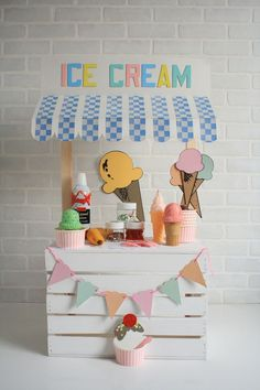 Chocolate, Strawberry or Vanilla? Step up to this Ice Cream Stand and get ready for some summer fun! This backdrop will be printed vertical.Recommended photography with kids Ice Cream Stand ~ Backdrops Canada Ice Cream Theme, Ice Cream Party, Birthday Table, Birthday Party Themes, Birthday Kids, Themed Parties, Diy For Kids, Crafts For Kids, Kids Fun
