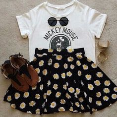 Micky Mouse Graphic Tee and Floral Skirt with Black Sandals