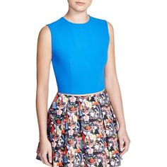 Alice + Olivia Klynn Crop Top ($139) ❤ liked on Polyvore featuring tops, royal blue and alice + olivia