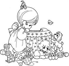 O, little child - Precious Moments coloring pages.
