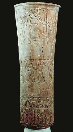 Presentation of offerings to Inanna (Warka Vase), from Uruk (modern Warka), Iraq ca. 3200-3000 bce