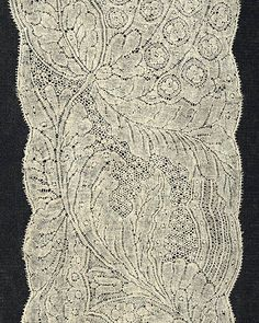 Binche or Valenciennes bobbin lace...example here is a section of lappets from Flanders...circa 1730