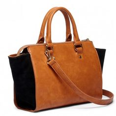 Cognac/Black Winged Satchel W/ Suede Gussets | Bridgette | Free Shipping on Orders $50+