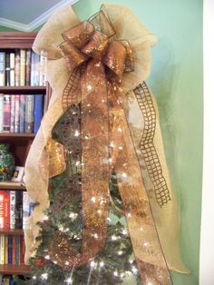 Brown & Copper Burlap Mesh & Jute Ribbon *Door Wreath *Christmas Tree Topper Bow