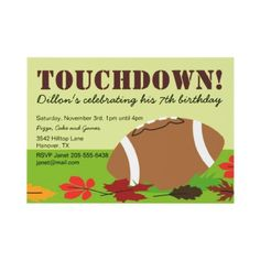 Football Birthday Party Themed Invitations, kids, boys birthday party idea, tailgate super bowl party invites ?