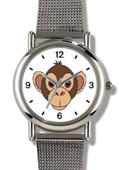 Monkey (Head) Cartoon - JP Animal - WATCHBUDDY® ELITE Chrome-Plated Metal Alloy Watch with Metal Mesh Strap-Size-Small ( Children's Size - Boy's Size & Girl's Size ) WatchBuddy. $79.95. Save 37%!