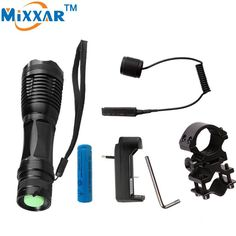 zoomable tactical flashlight +1*18650 battery + Remote Switch+Charger+Gun Mount