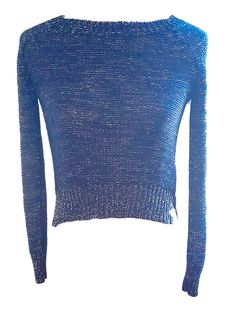 WOMEN'S NAVY & SHIMMERY GOLD CABLE KNIT WINTER SWEATER SIZE SMALL USED/PRESHRUNK #Unbranded #ScoopNeck