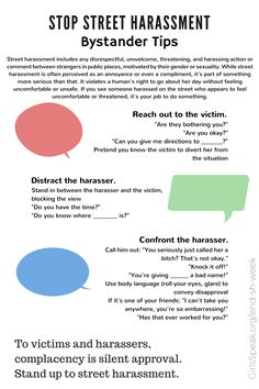 Bystander Tips On How To Stop Street Harassment Street Harassment Public Speaking Tips Domestic