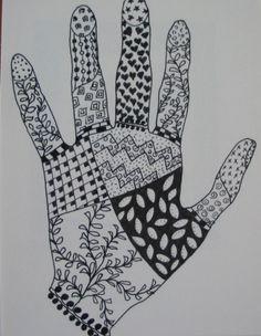hand zentangle patterns zentangles drawings easy hands beginners shape lesson fill doodle doodles preschoolers project then drawing pattern plan designs