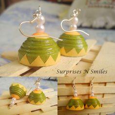 pretty green + Orangish yellow quilled jhumkas :)