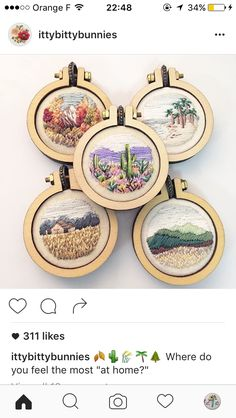 Amazing tiny embroidery landscapes on necklace pendants