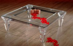 Cast acrylic cocktail table, with transitional look which creates spacious area in your surroundings. Custom sizes are available. Hand made in USA. Designed by Shahrooz