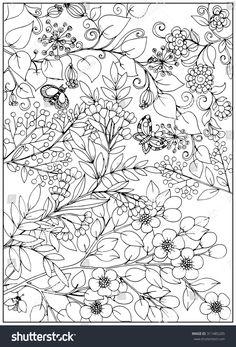 Coloring page with garden flowers pattern