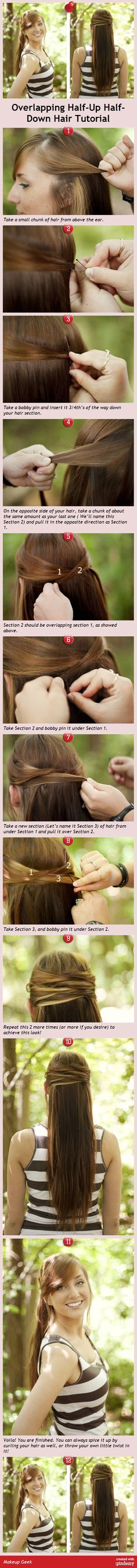 Overlapping Half-Up Half-Down Hair Tutorial via pindemy.com